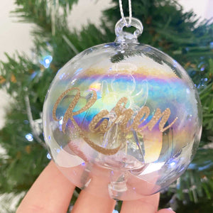 Personalised Angel Iridescent Glass Bauble
