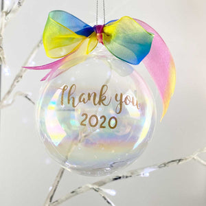 Personalised Iridescent Glass Bauble - Rainbow Ribbon