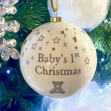 Load image into Gallery viewer, Baby's 1st Christmas' Bauble - Silver Teddy & Snowflakes