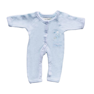 Incubator Velour 'Special Little Me' Baby Grow - Blue