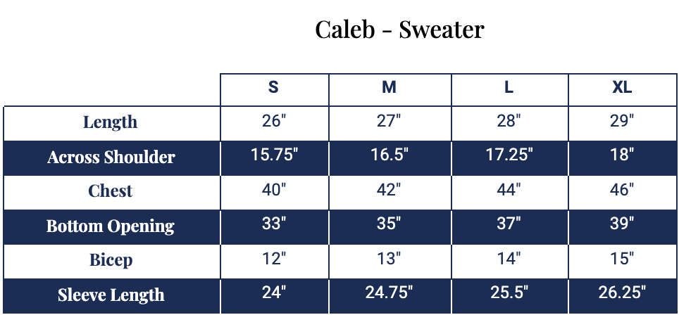 Size chart for Caleb Sweater
