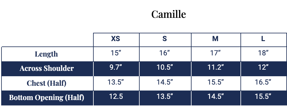 Size chart for Camille Crop Top