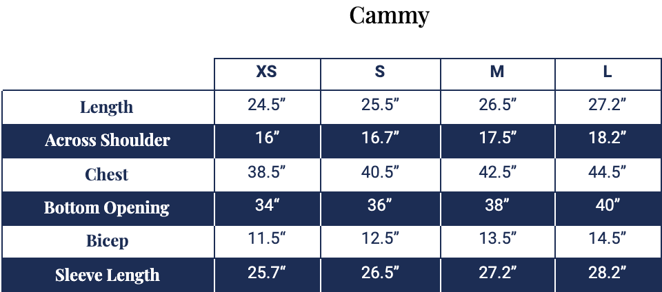 Size chart for Cammy Hoodie