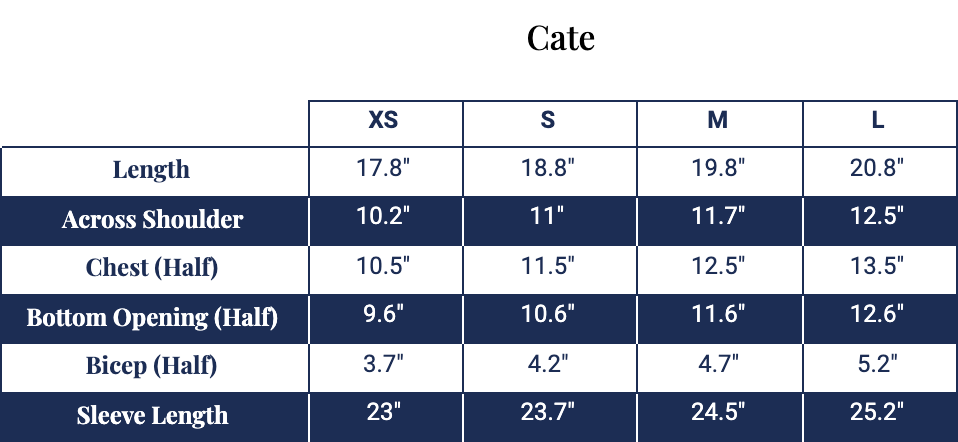 Size chart for Cate Pullover
