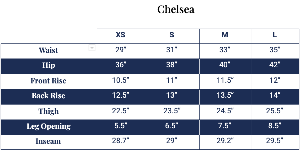 Size chart for Chelsea Sweatpant