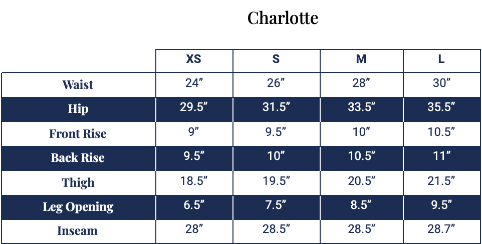 Size chart for Charlotte Pant