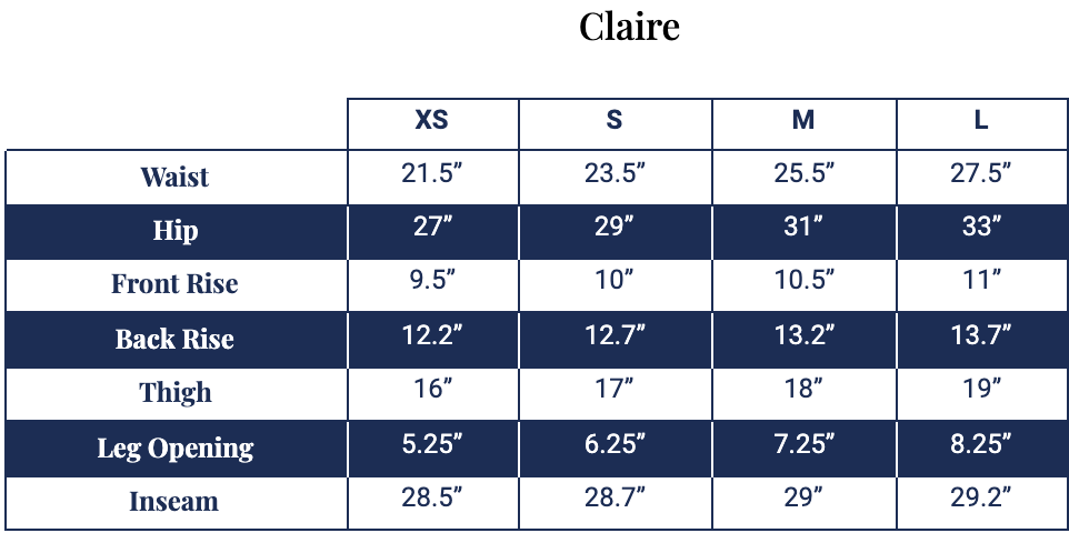Size chart for Claire Legging