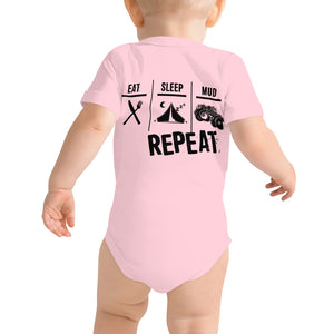 Eat Sleep Mud Repeat Baby One Piece T-Shirt