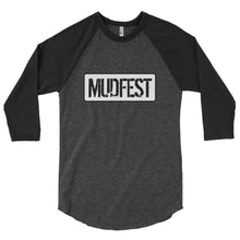 Load image into Gallery viewer, Mudfest B & W 3/4 sleeve raglan shirt