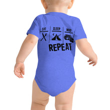 Load image into Gallery viewer, Eat Sleep Mud Repeat Baby One Piece T-Shirt