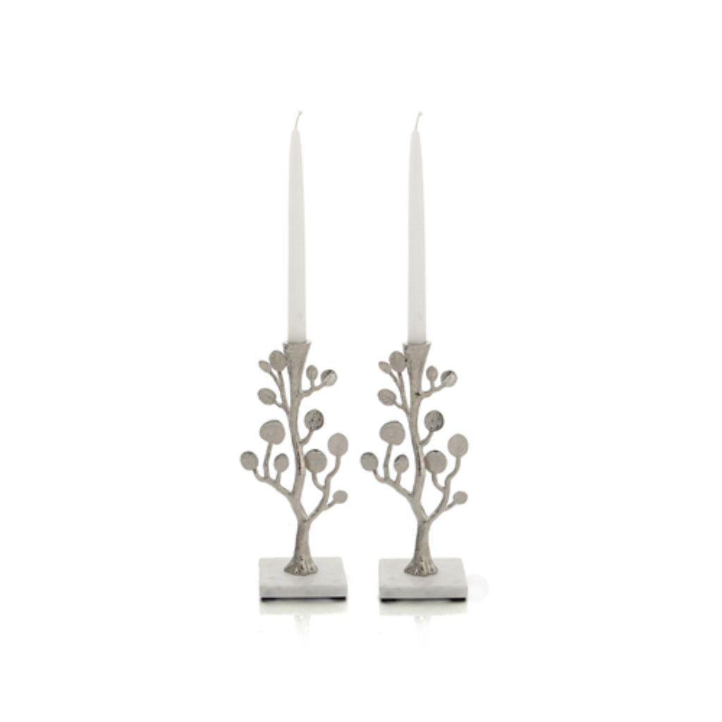 Botanical Shabbat Candlesticks - Silver by Michael Aram