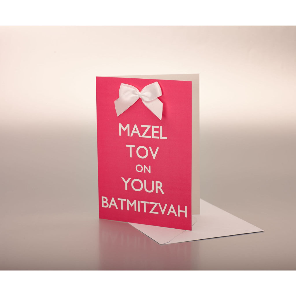 Mazel Tov on your Bat Mitzvah - Pink Card with white bow