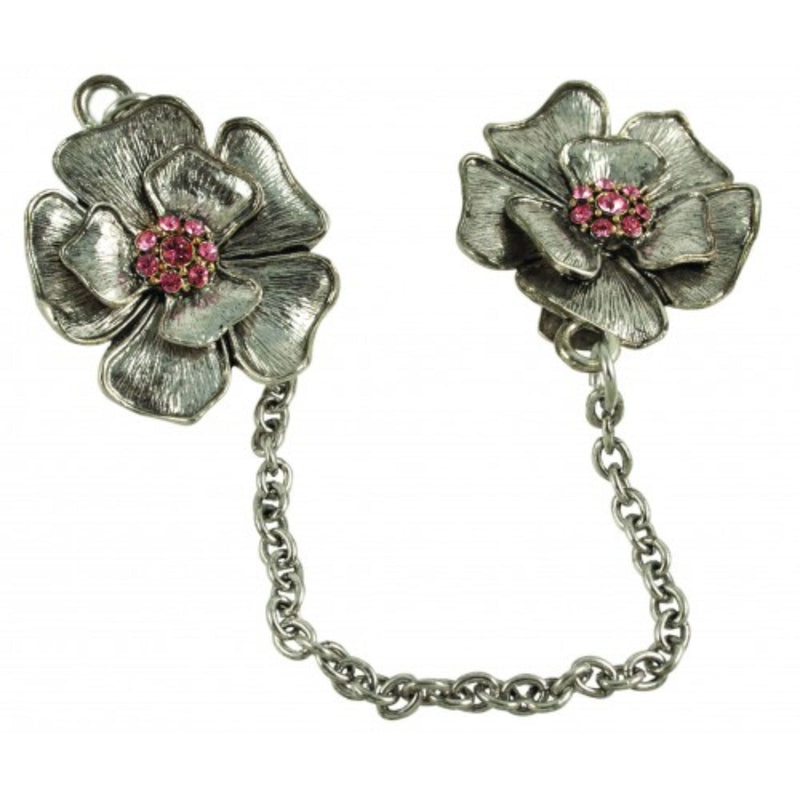 Silver/Pewter Flower Tallit Clips by Quest Collection
