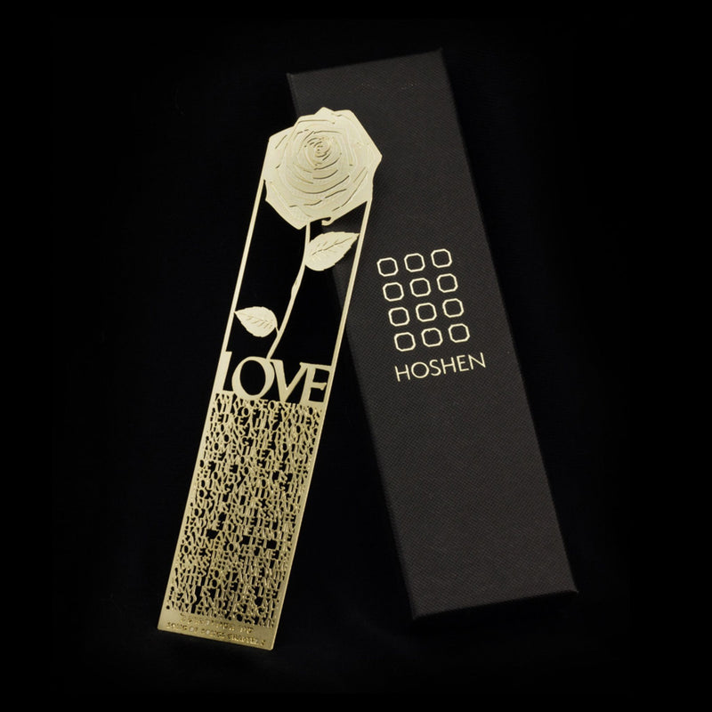 Bookmark - Rose Love Song of Songs in Gold