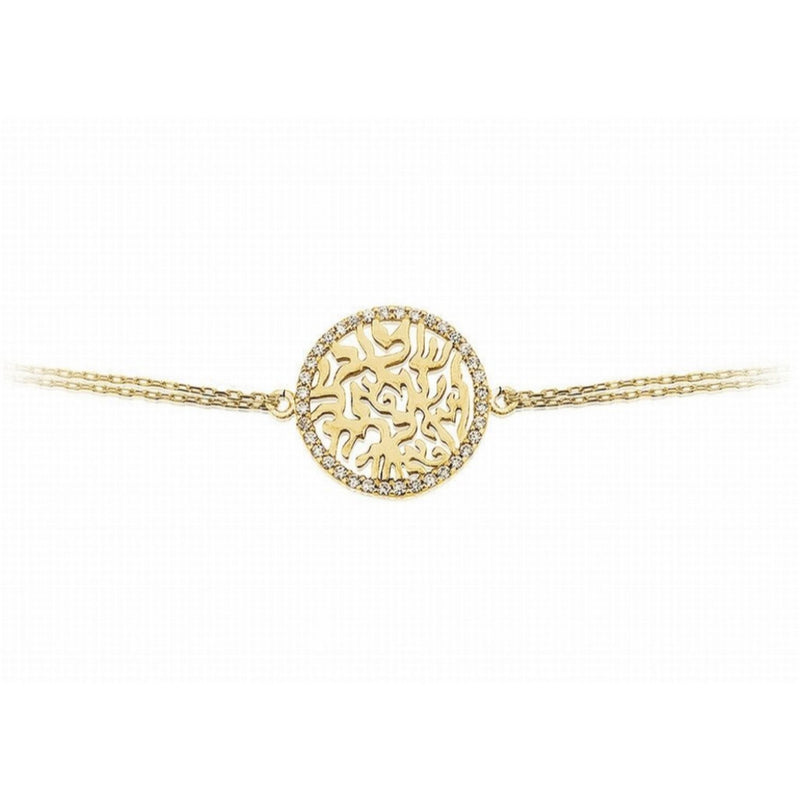 'Shema' Circle of Life Gold Bracelet with a Cubic Zirconia Rim by Penny Levi