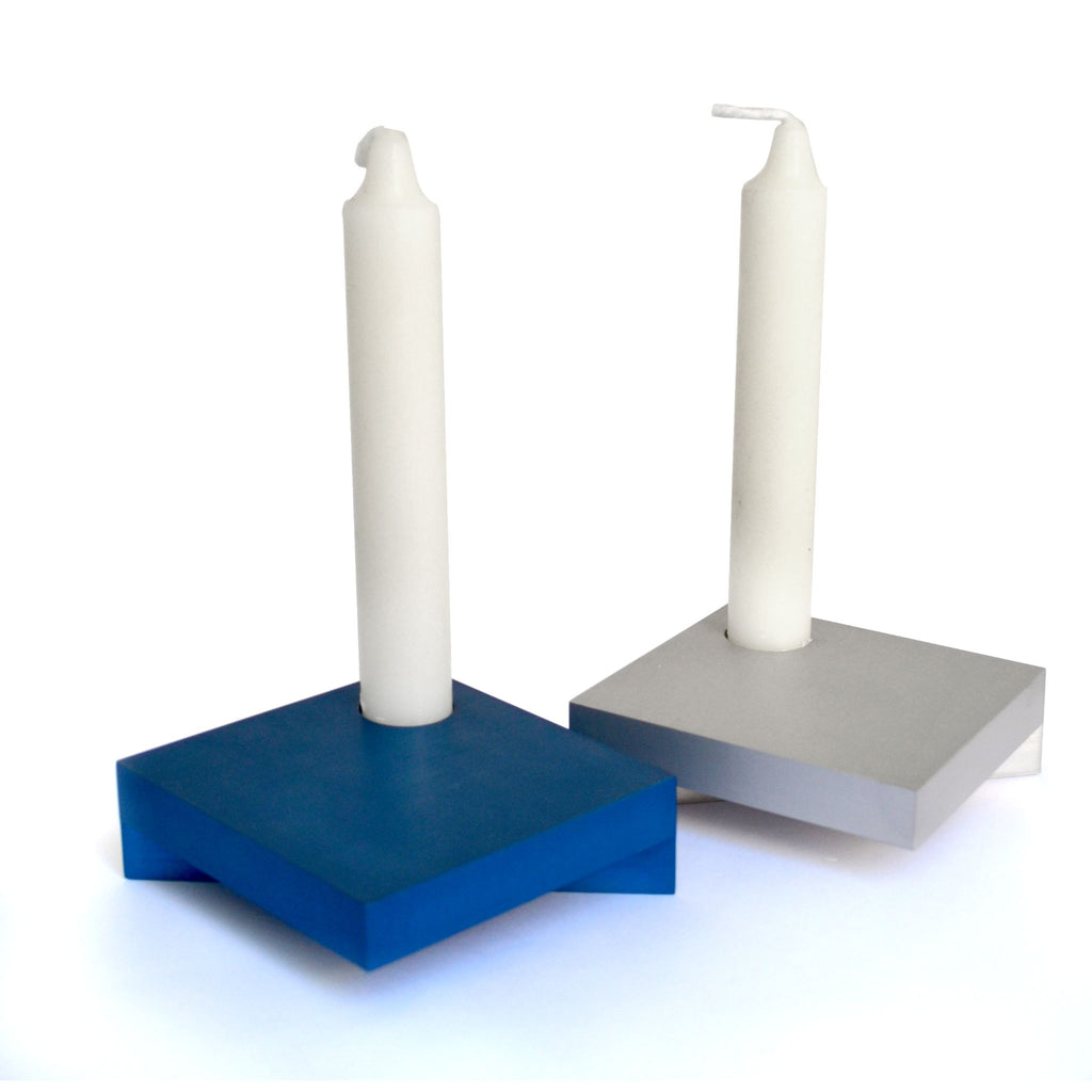 Square Travelling Chanukiah / Shabbat Candlesticks in Blue/Silver by Nadav Art