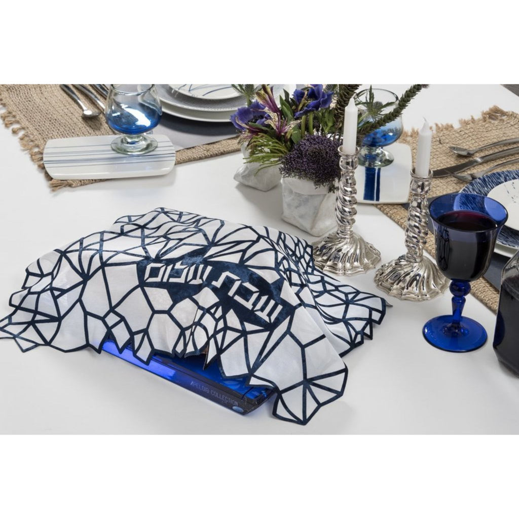 Geometric Challah Cover in Black by Apeloig Collection