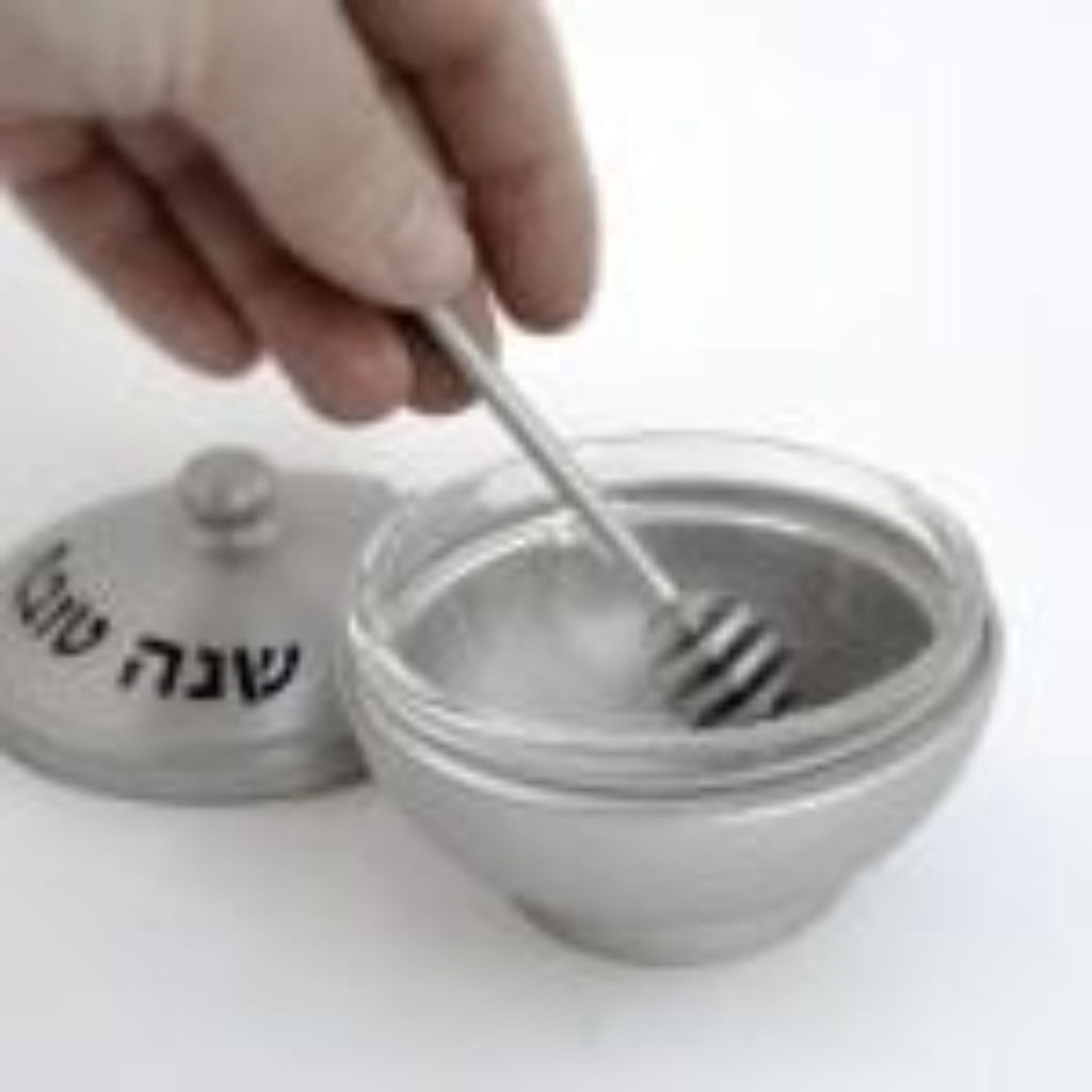Aluminium Honey Dish with Swirl Spoon in Grey by Nadav Art