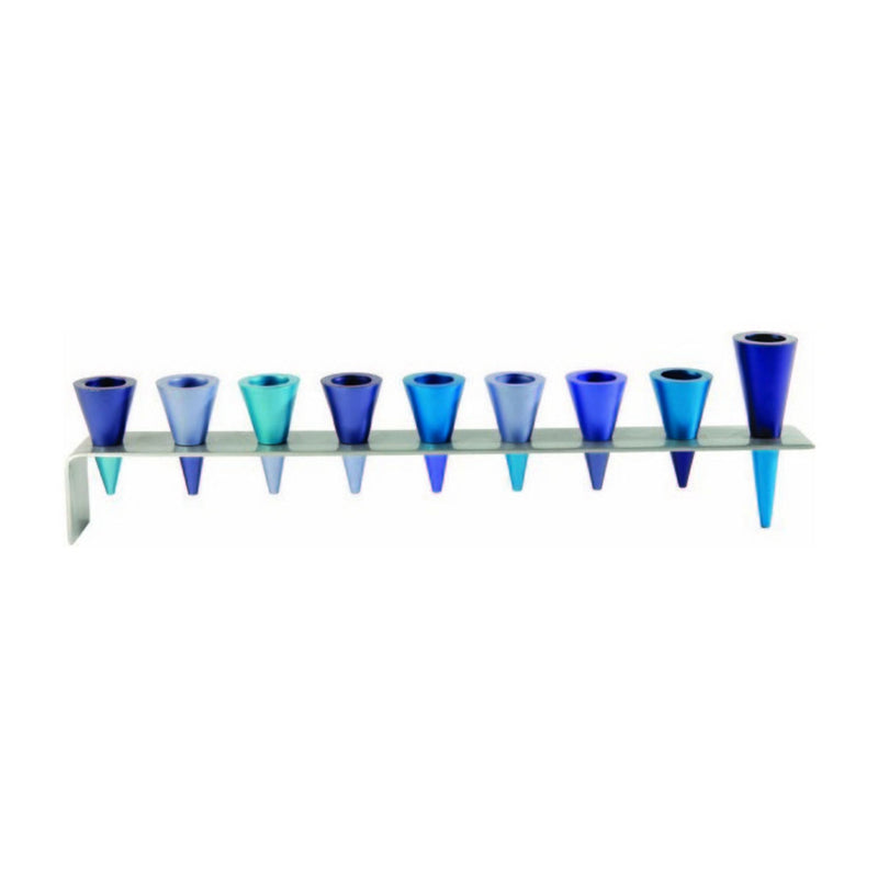 Metal Cone Chanukiah in Blue by Yair Emanuel (with optional Oil candle holders)