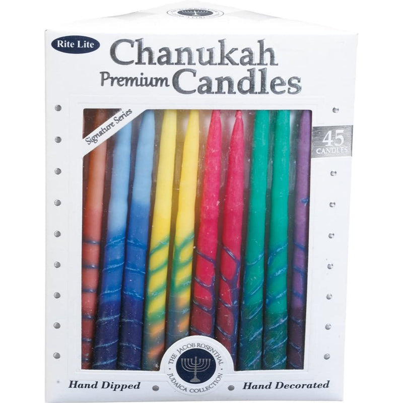 Premium Chanukah Candles - Striped Hand Decorated Rainbow