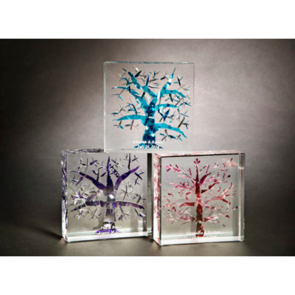 Broken Chuppah Glass Art Tree of Life in Lucite Cube
