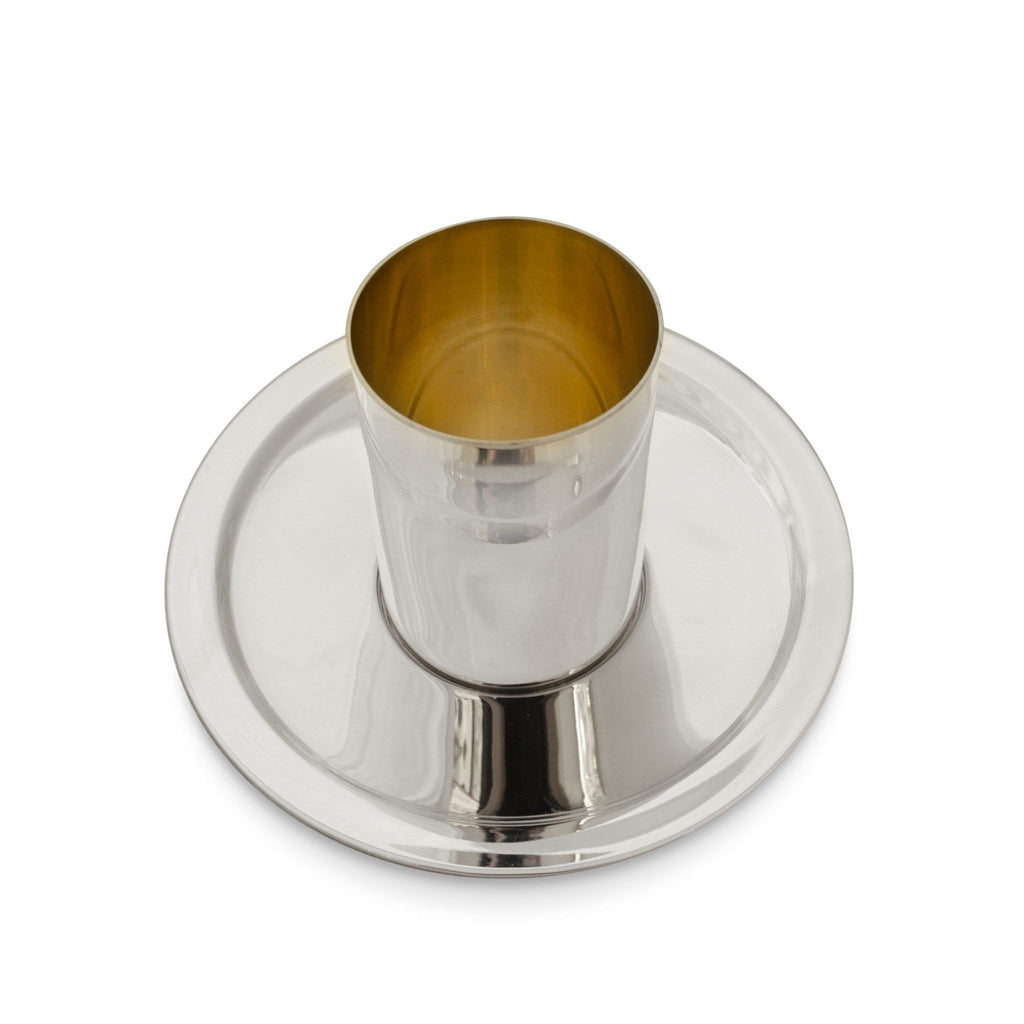 Contemporary Kiddush Cup and Saucer Set in Silver by Nadav