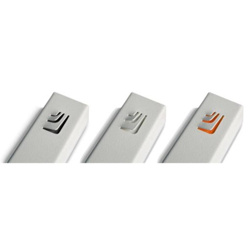 "Folded ""ש"" Small White Metal Mezuzah with Orange Shin by Marit Meisler at CeMMent"