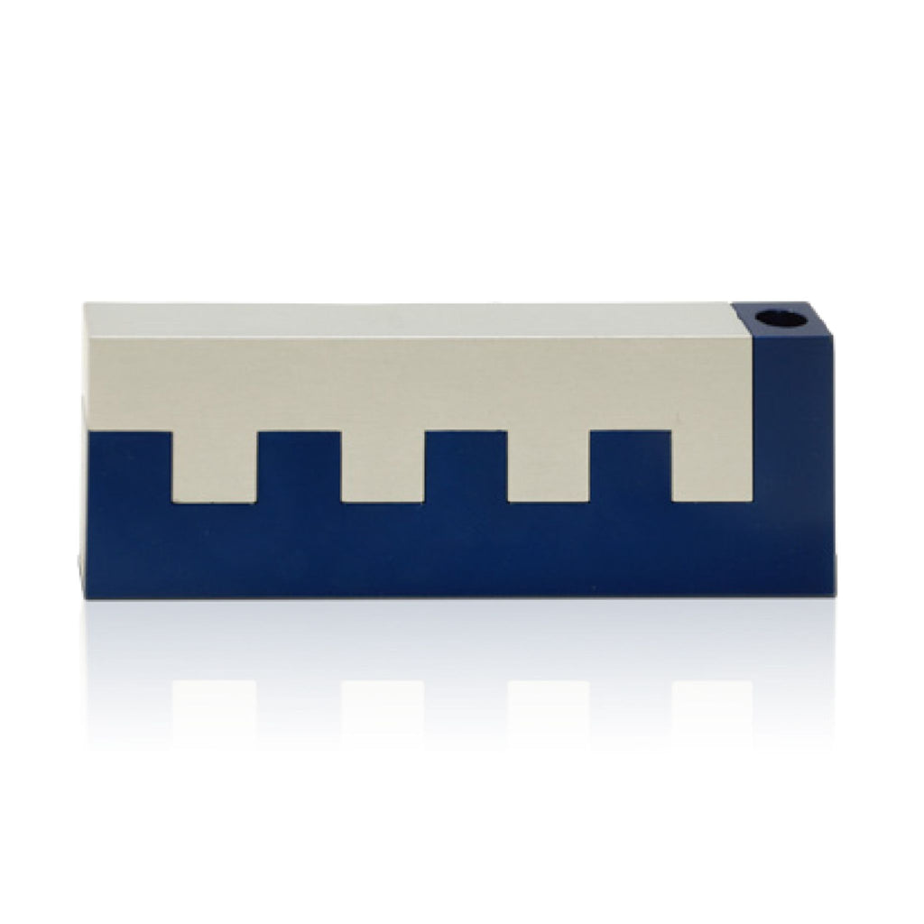 Travelling Walls of Jerusalem two tone - Non-hammered Blue Chanukiah by Nadav Art
