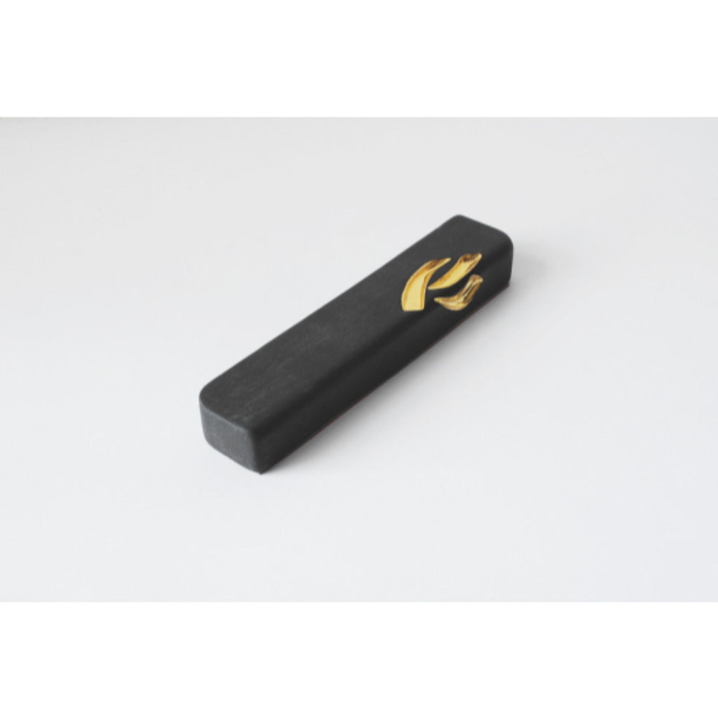 Ceramic Black Mezuzah with Gold Shin by Yahalomis