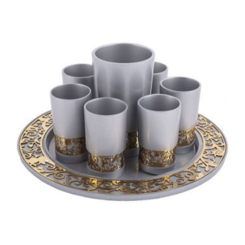 Kiddush Cup Set with Laser Cut detail by Yair Emanuel
