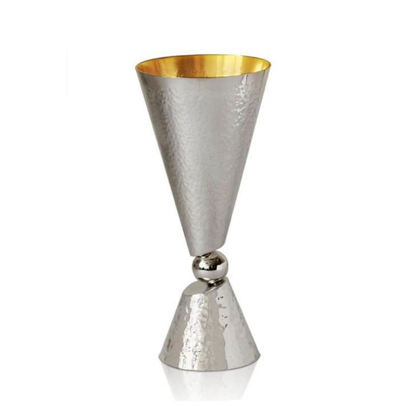 Sahar Modern Hammered Silver Kiddush Cup with Ball by Nadav Art
