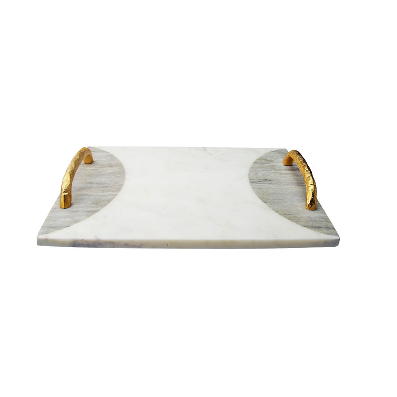 Two Tone Marble Challah Tray with Gold Handles and Knife