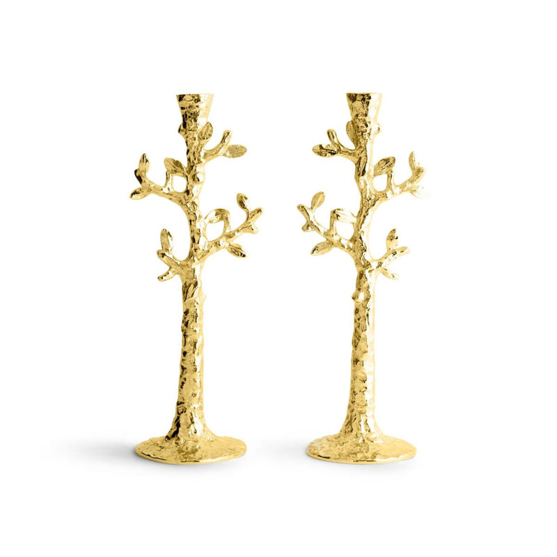 Tree of Life Candleholders in Gold by Michael Aram