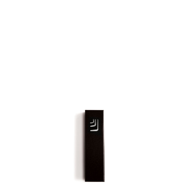 "Folded ""ש"" Mini Black Metal Mezuzah with White Shin by Marit Meisler at CeMMent"