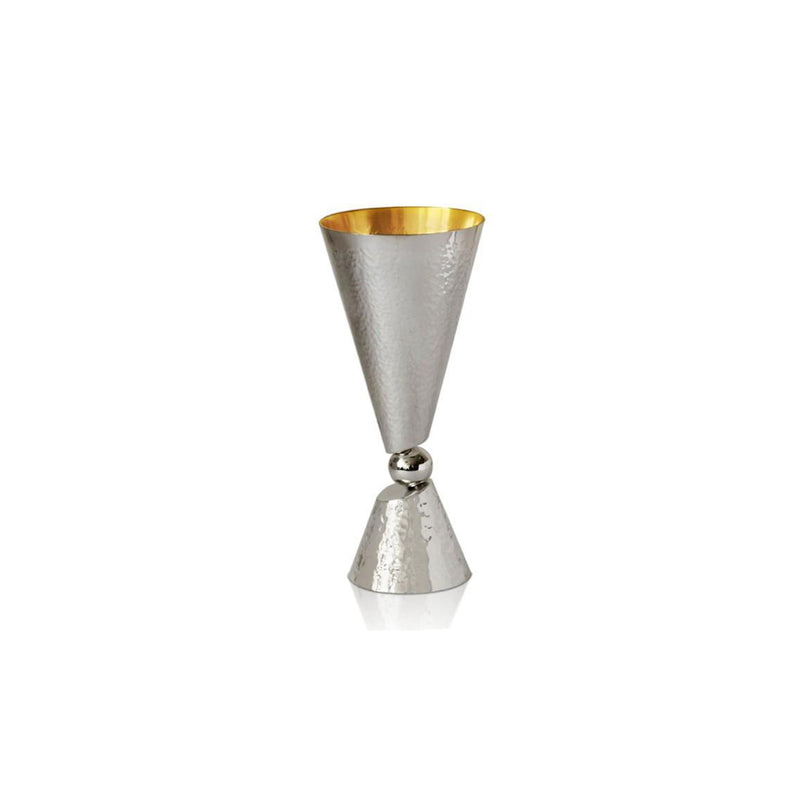 Sahar Modern Hammered Silver Kiddush Cup with Ball - Small by Nadav Art