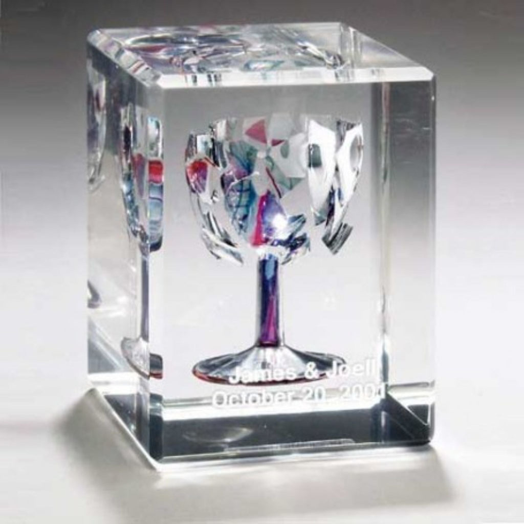 Broken Chuppah Glass Art in Lucite Cube