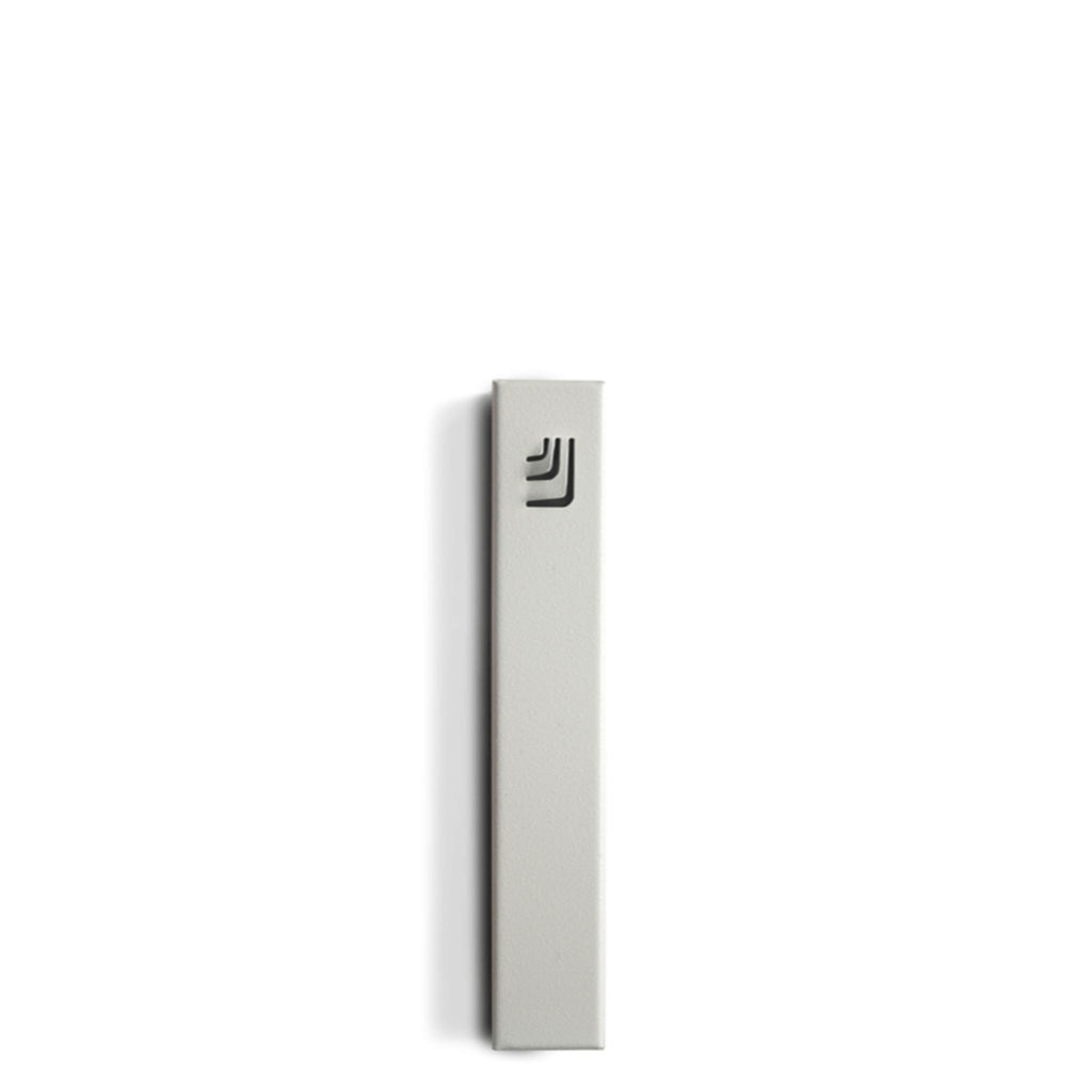 "Folded ""ש"" Small White Metal Mezuzah with Black Shin by Marit Meisler at CeMMent"