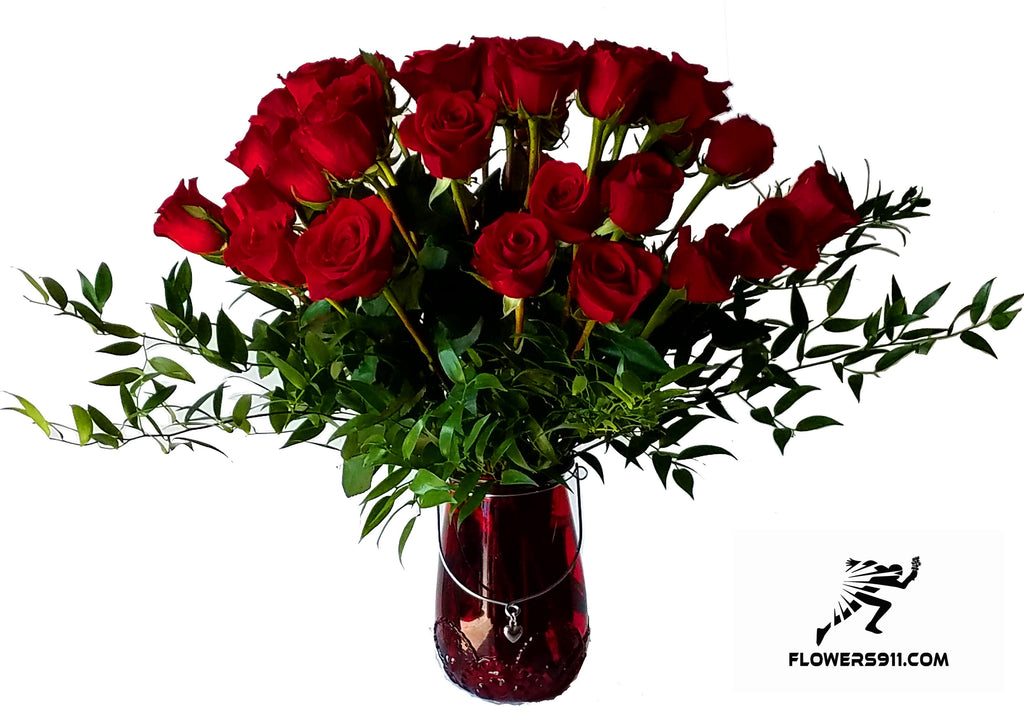 24 Red Roses In Magnificent Vase