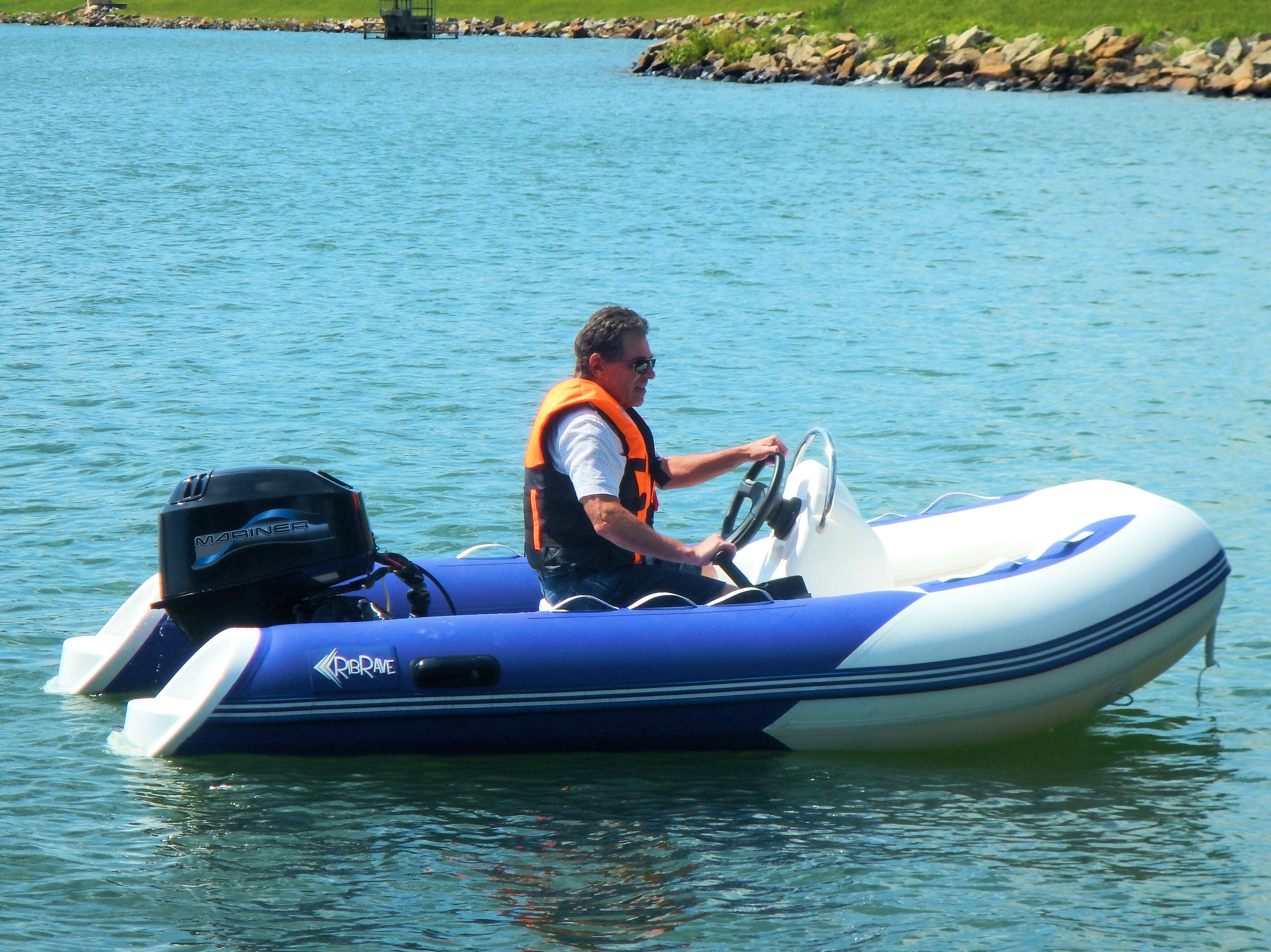 """... 10' 6"""" JS17 Rigid Hull Inflatable Boat with Mariner 30HP Outboard Motor  ..."""