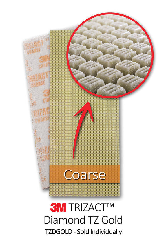 3.75x9 Coarse Trizact Diamond HX - Sold Individually - Square Scrub SS TZDGOLD