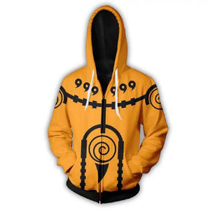 Naruto Uzumaki Zipper Hoodie Orange