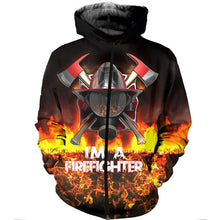 Load image into Gallery viewer, Nordic Runes Firefighter Zipper  Hoodie
