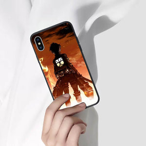 Attack On Titan Eren Yeager Anime Phone Case 2 -Tempered Glass Cover