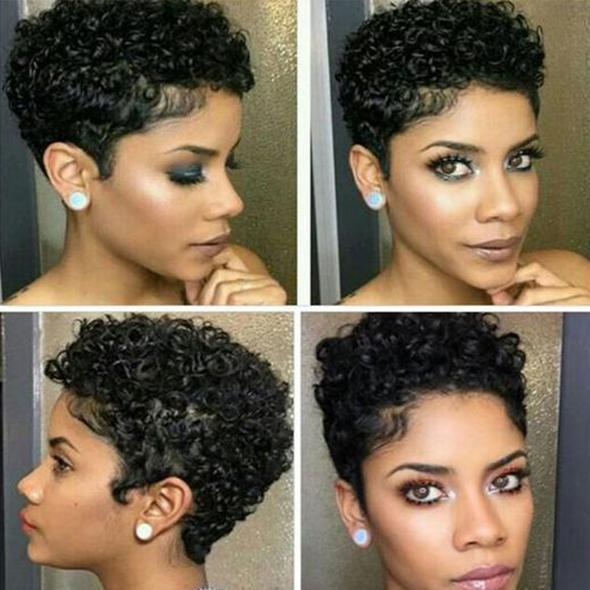 Women Afro Short Curly Hair Wig without Bangs