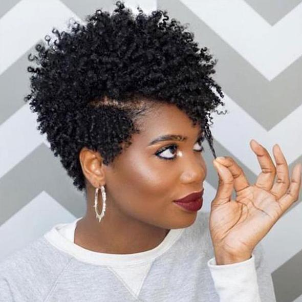 kinky African American Spiral Short Afro Curly Hair Wig for Women