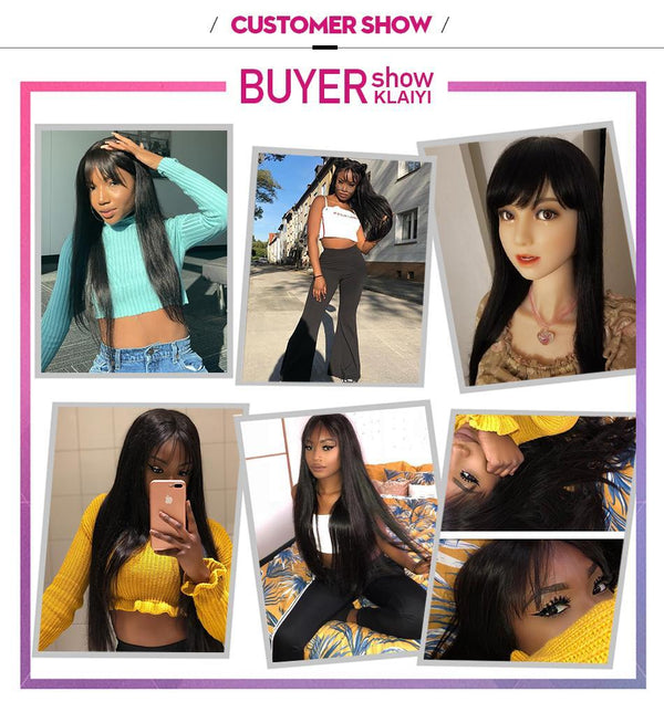 Straight Hair Wigs With Bang Brazilian Remy Human Hair Wigs Glueless13X4 Lace Front Wig Pre Plucked