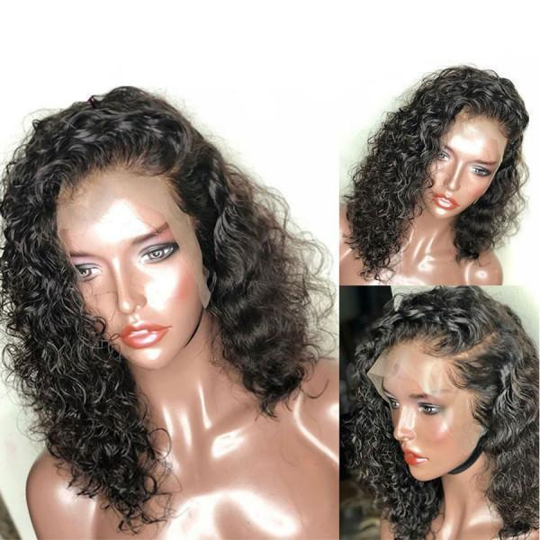 200% Density Curly Bob Brazilian Hair 360 Lace Frontal Human Hair Wig
