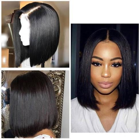 Short Straight Lace Frontal Bob Wig 100% Human Hair Without Bangs