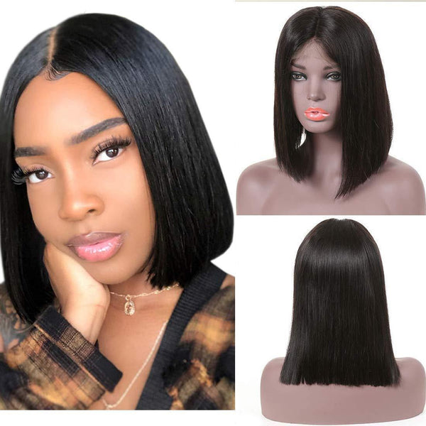 Beauty Forever Hair 8A Virgin human Hair Short Straight Lace Front Wig Brazilian Human Hair Lace Wigs with Baby Hair for Black Women