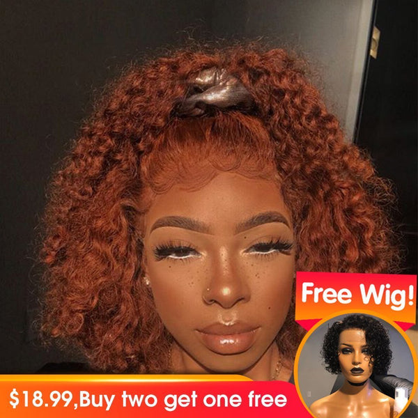 Ginger Orange Wig Human Hair Deep Wave Lace Front Human Hair Wigs PrePlucked Virgin Colored Human Hair Wigs For Black Women Full